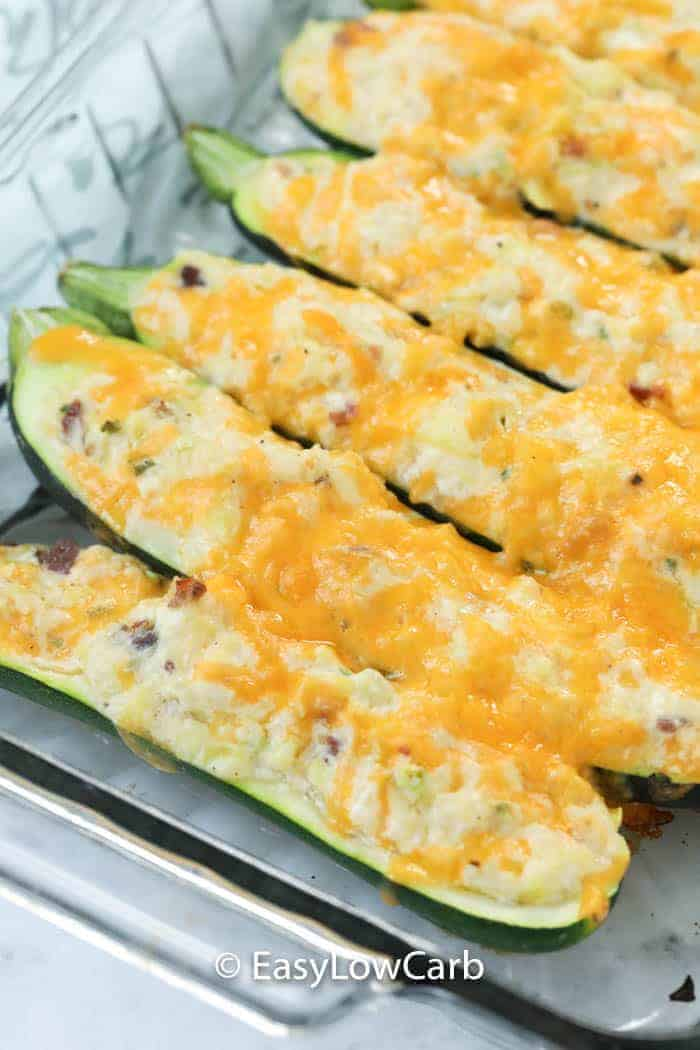 Twice Baked Zucchini baked in a casserole dish