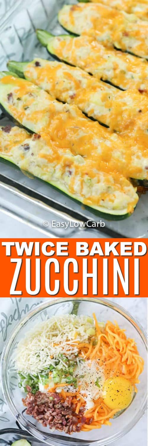 Top photo - Zucchini twice baked in a clear baking dish. Bottom photo - the filling for twice baked zucchini in a clear mixing bowl.