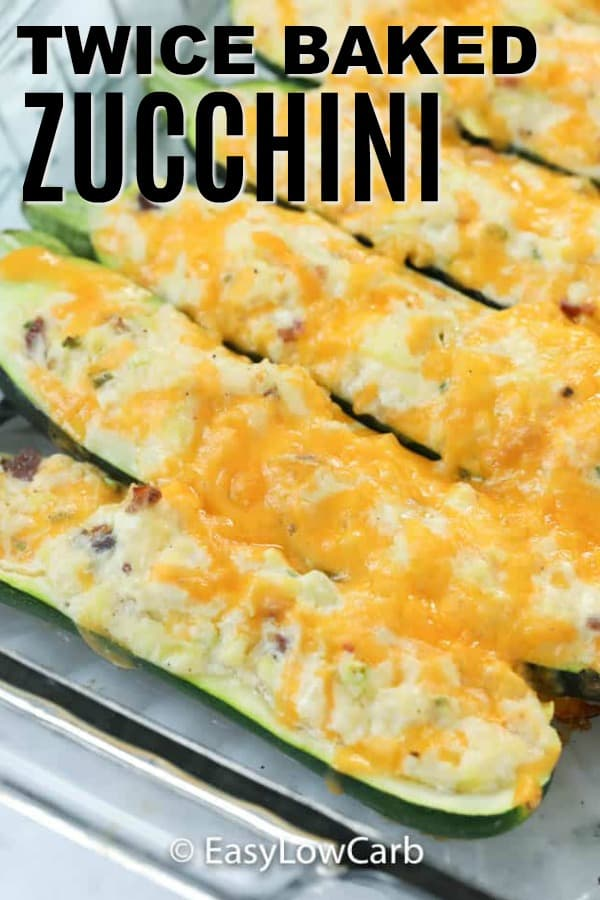 Zucchini twice baked in a clear baking dish.