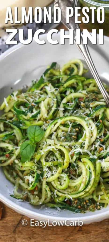 Almond Pesto Zucchini Noodles served in a white bowl.