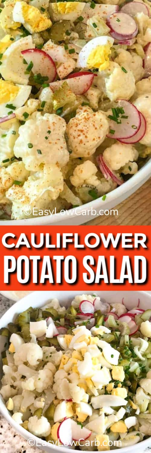 Cauliflower Potato Salad in a white bowl, and the ingredients for the salad assembled in a bowl under the title.