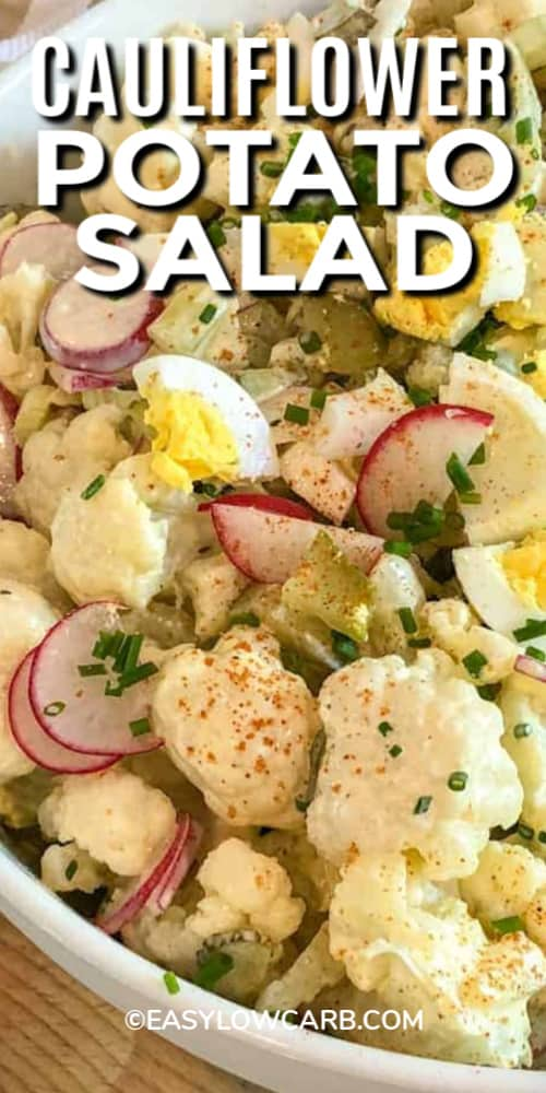 Cauliflower Potato Salad in a white bowl with a title.