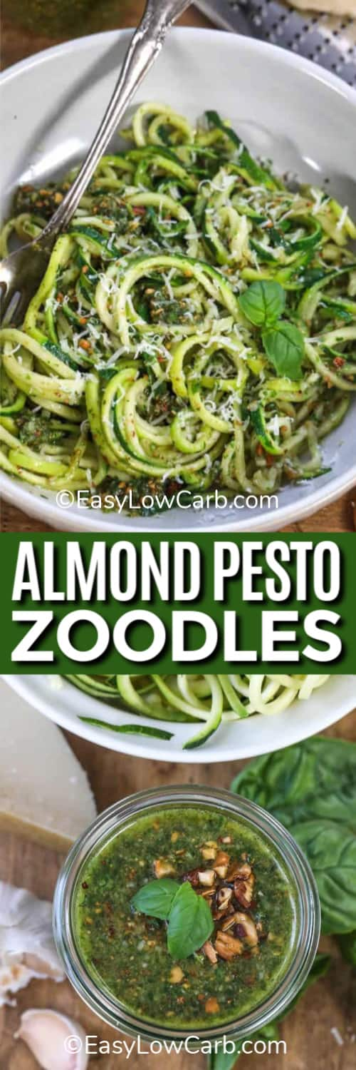 Almond Pesto Zoodles garnished with basil in a white dish, and almond pesto in a glass jar ready for almond pesto zoodles underneath the title.