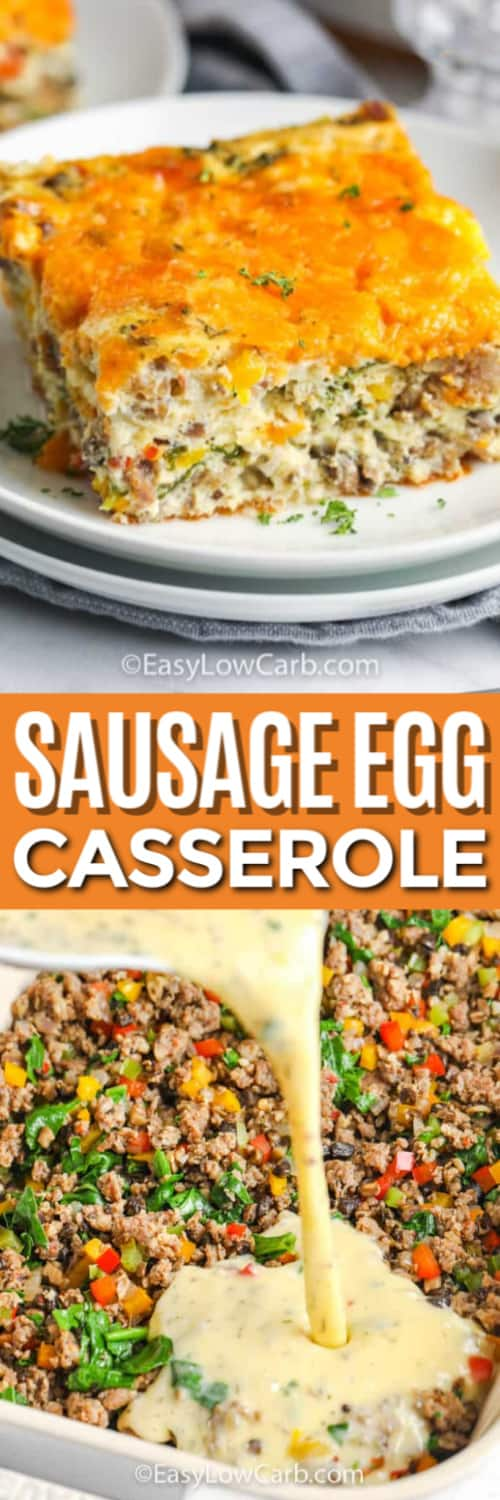 Sausage Egg Casserole on a plate, and pouring egg mixture on ingredients in a baking dish under the title.