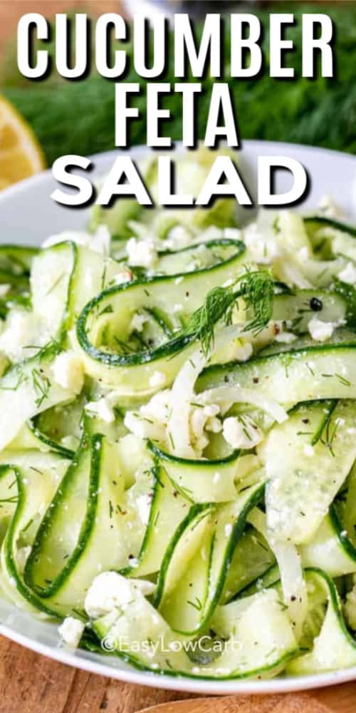 Cucumber Feta Salad in a white bowl with a title.