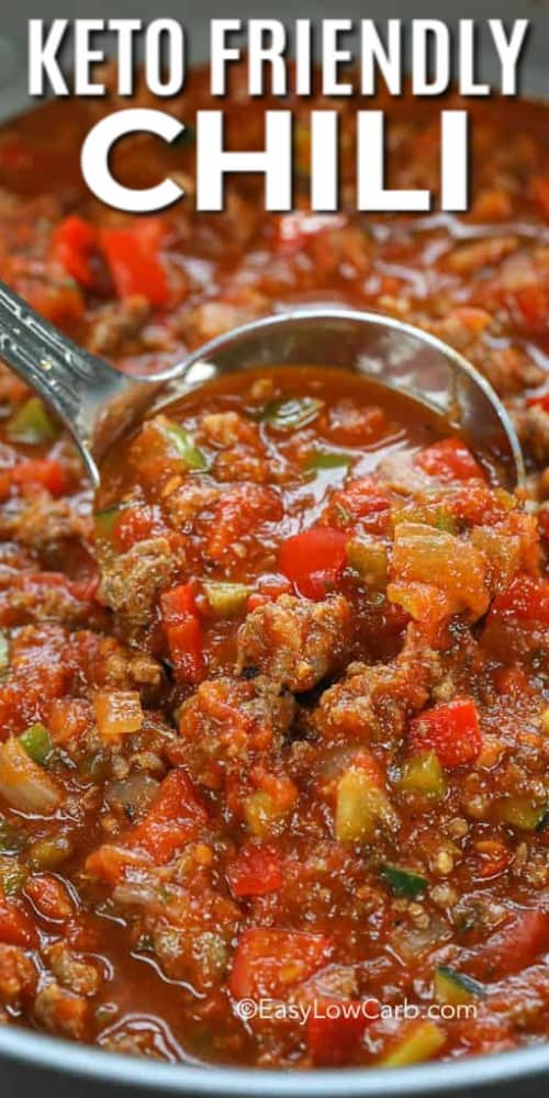 Keto Friendly Chili with writing