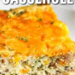 Sausage Egg Casserole on a white plate with writing