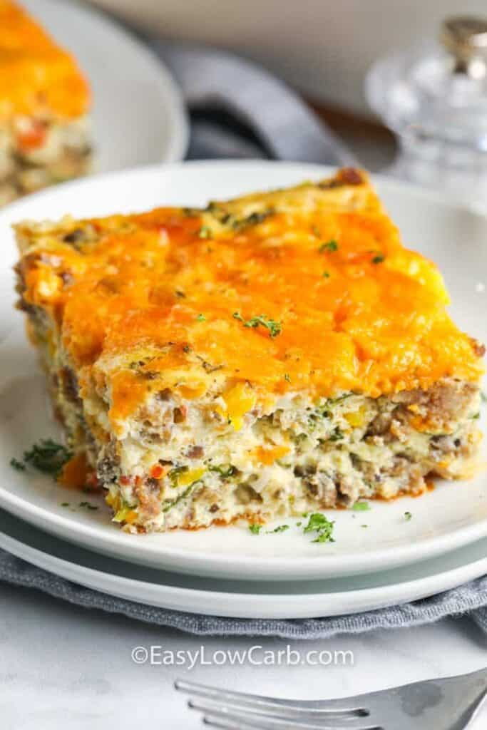 close up of Sausage Egg Casserole on a plate