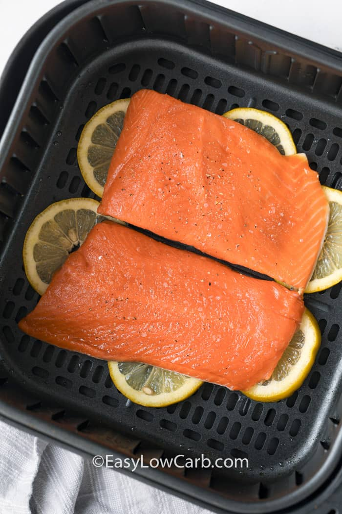 top view of air fryer salmon before cooking