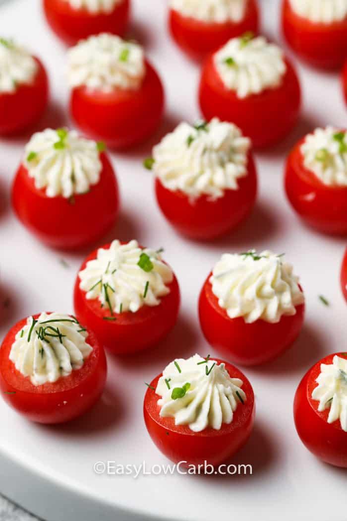 Stuffed Cherry Tomatoes on a white platter