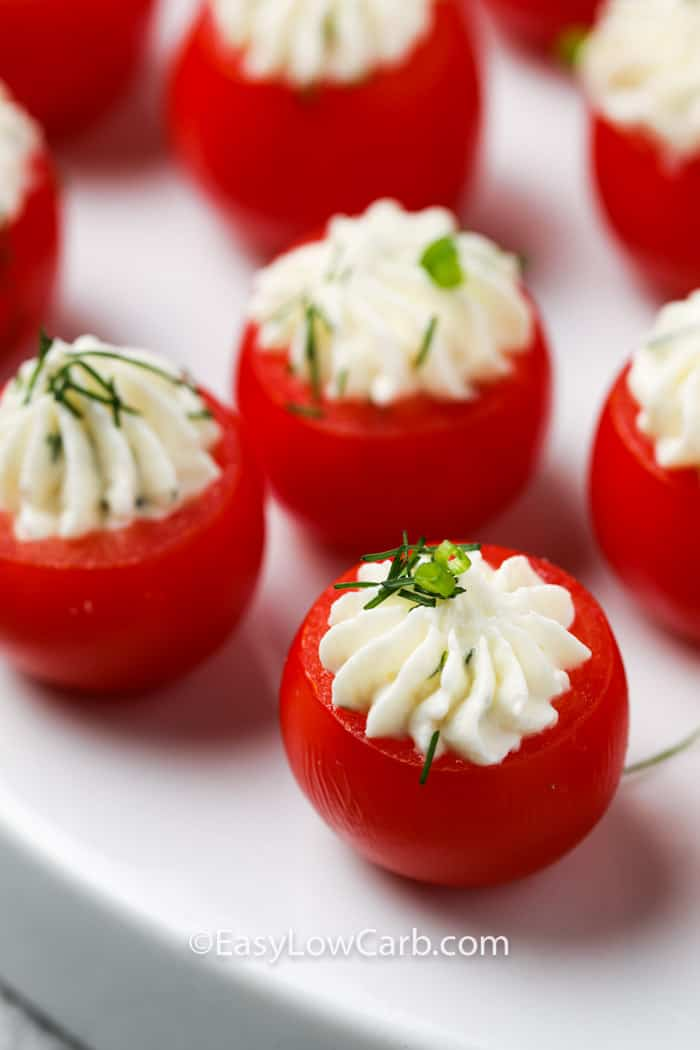 close up of Stuffed Cherry Tomatoes