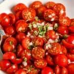 Tomato Salad in a white bowl