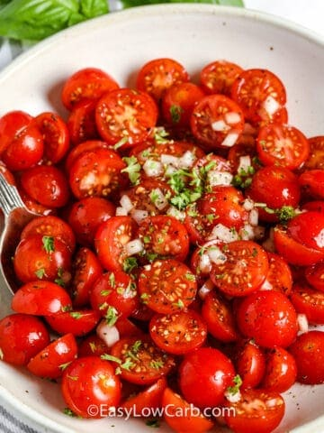 Tomato Salad in a white bowl