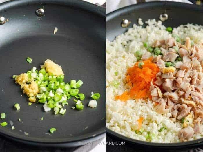 process of adding ingredients to pan to make Cauliflower Chicken Fried Rice