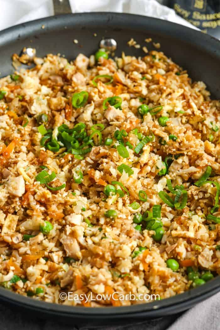 cooked Cauliflower Chicken Fried Rice in a pot