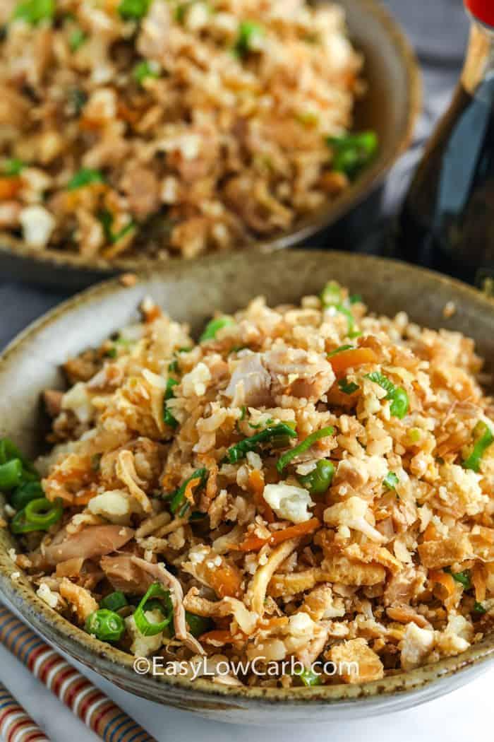 Cauliflower Chicken Fried Rice in two bowls