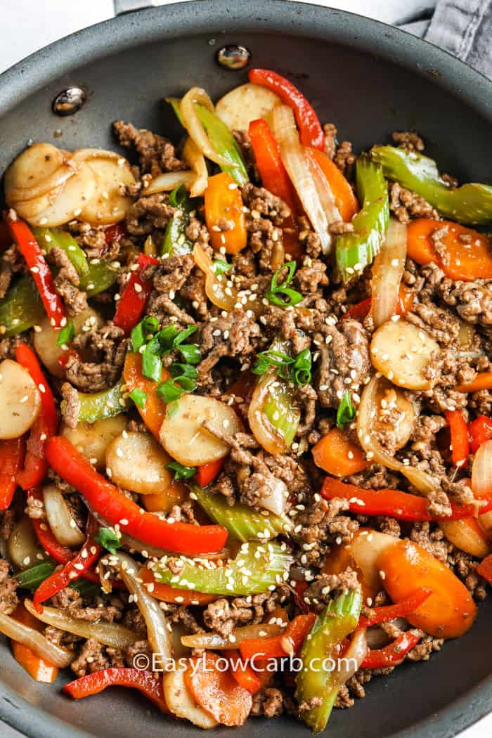 Easy Beef Stir Fry cooking in the a frying pan