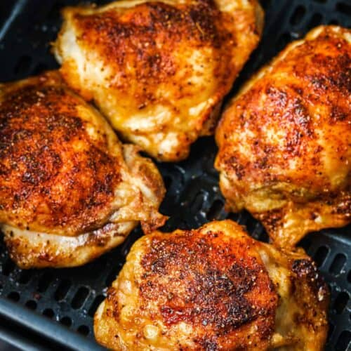 Air Fryer Chicken Thighs after cooking in the air fryer