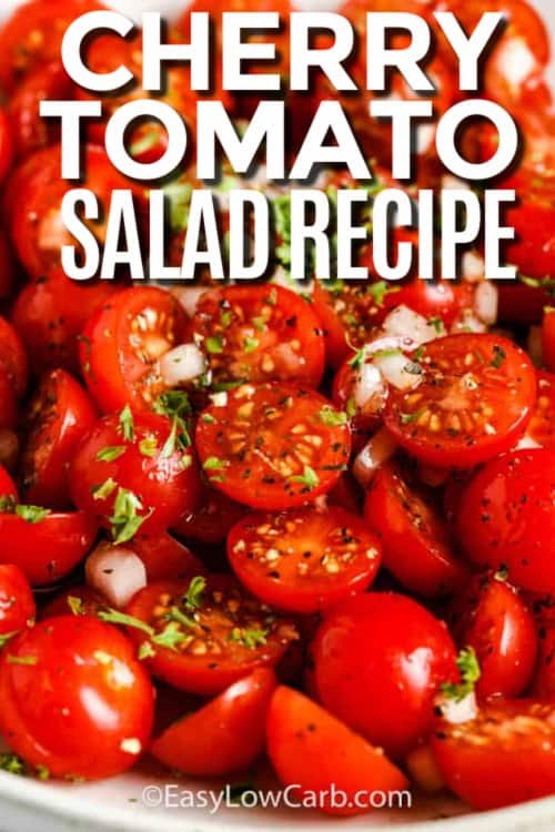 Marinated Tomato Salad in a white bowl with writing.