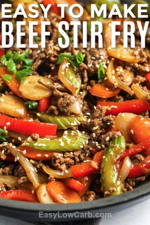 Easy Beef Stir Fry in the pan with writing