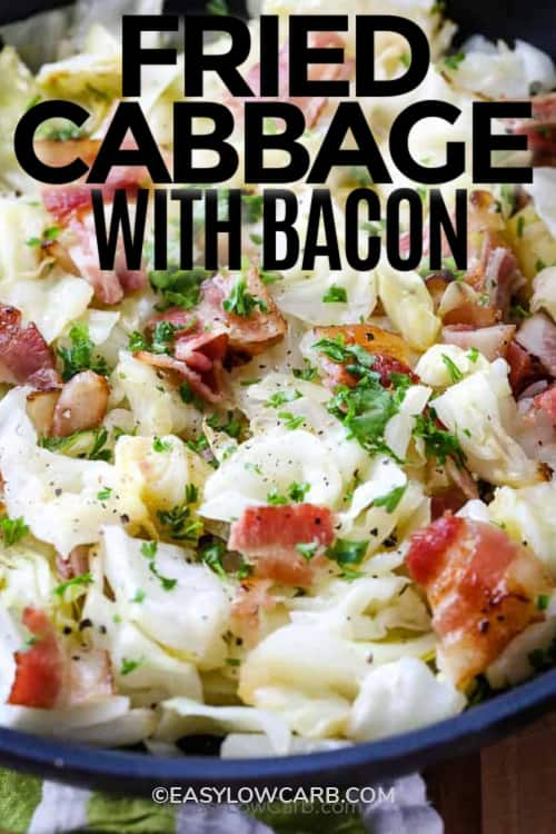 A bowl filled with Fried Cabbage And Bacon, with a title