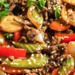 close up of Easy Beef Stir Fry with a title