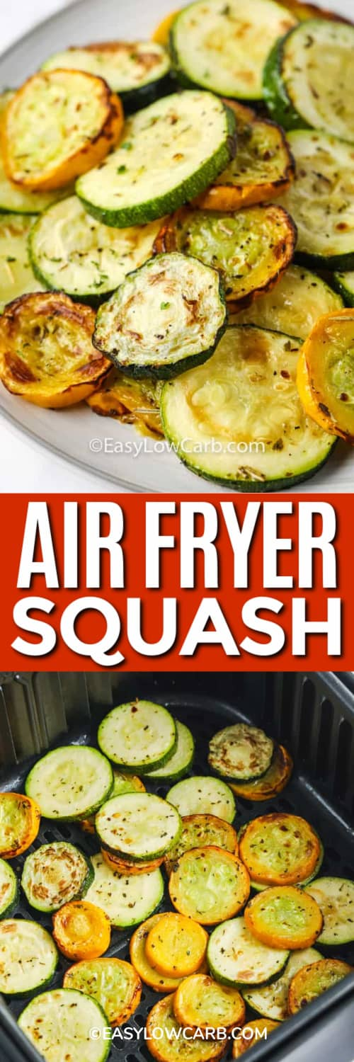 Summer Squash on a white plate, and squash in an air fryer under the title.