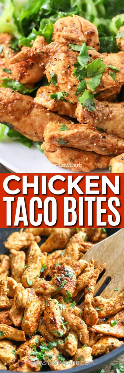 Chicken Taco Bites on a plate with lettuce, and taco bites being cooked in a pan under the title.