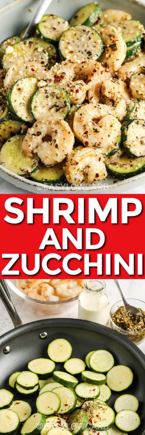 making Shrimp & Zucchini in the pan with plated dish and a title