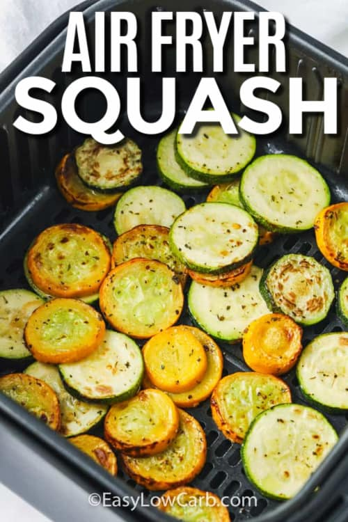 Cooked squash in an air fryer with a title.