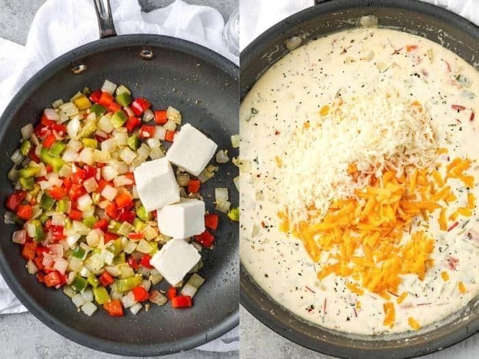 process of adding ingredients to pan to make Low Carb Chicken Spaghetti (Squash)