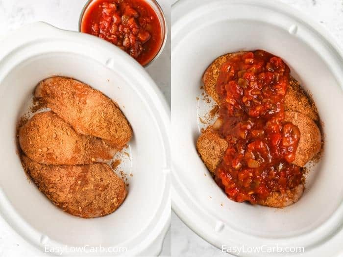 process of adding salsa to chicken to make Slow Cooker Salsa Chicken