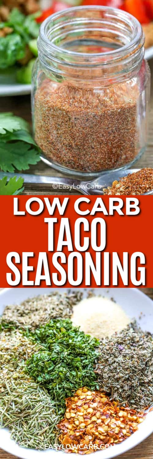 taco seasoning in a small glass jar, and ingredients for taco seasoning under the title