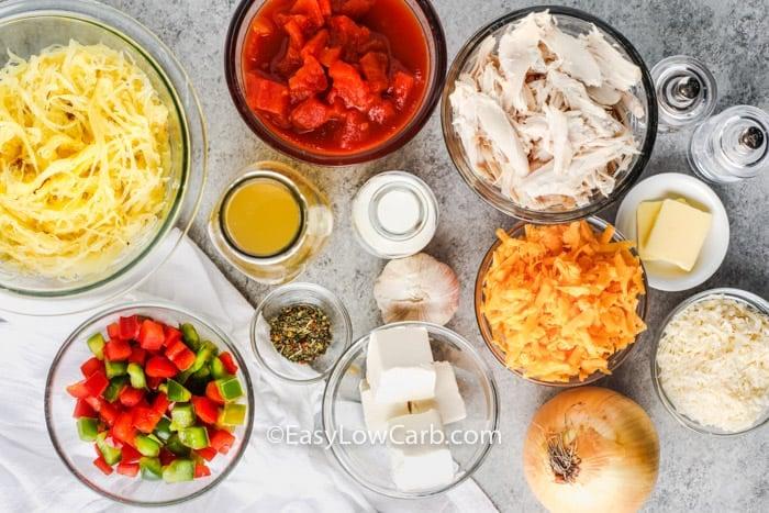 ingredients to make Low Carb Chicken Spaghetti (Squash)