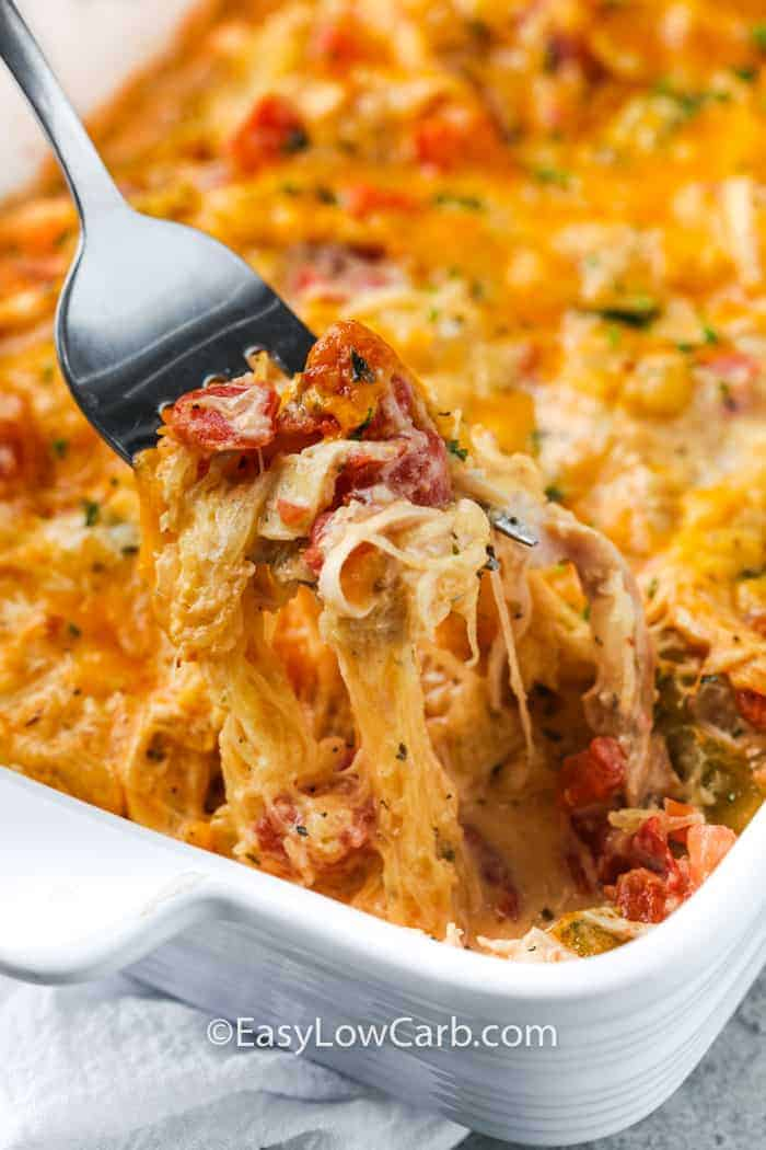 taking a fork full out of Low Carb Chicken Spaghetti (Squash)