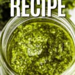 Kale Pesto in a clear jar with writing