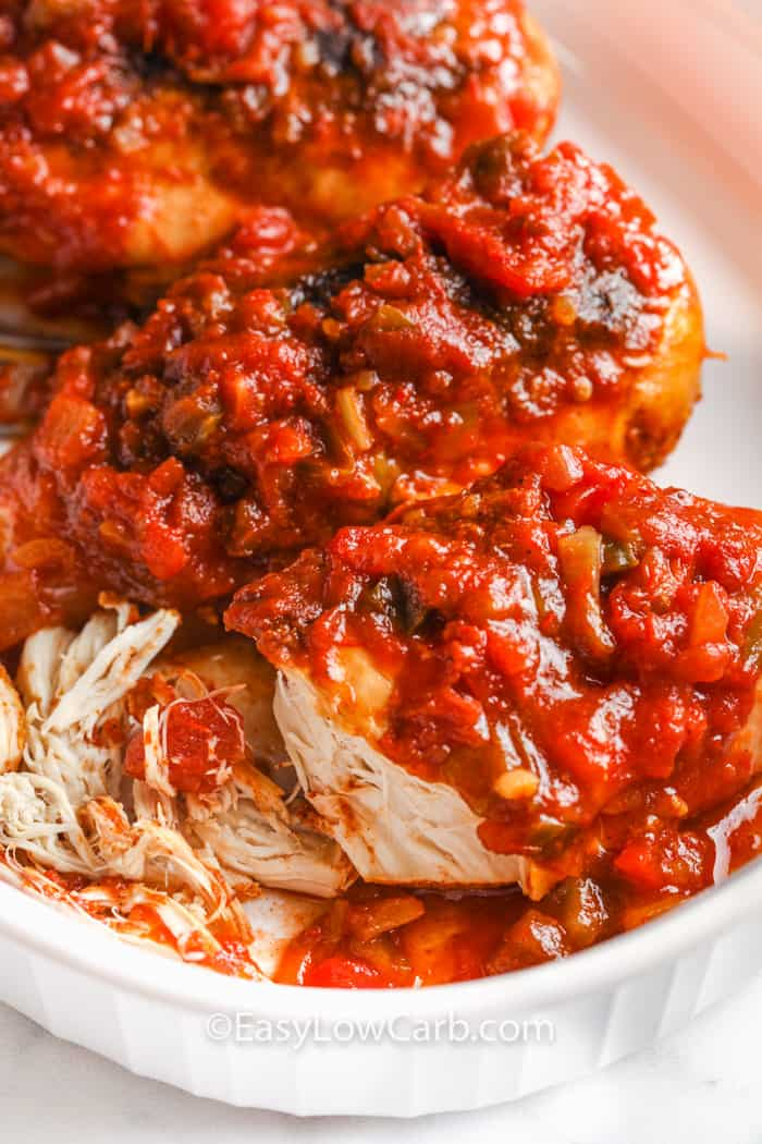 close up of shredded Slow Cooker Salsa Chicken