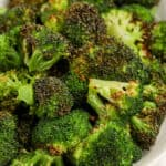 close up of Air Fryer Broccoli on a plate