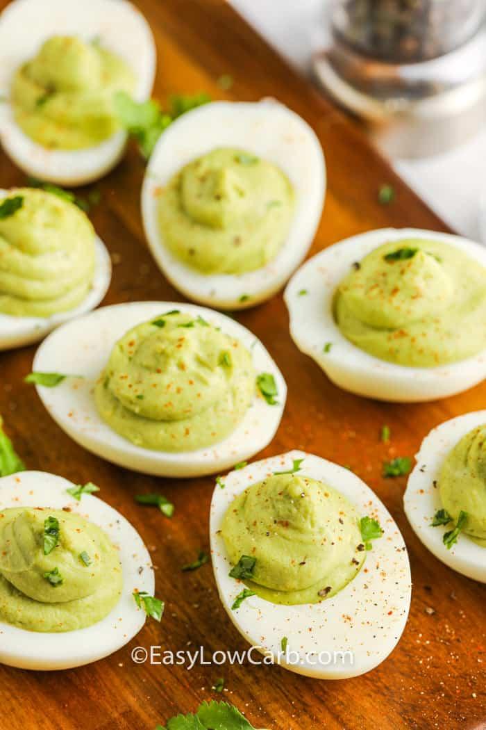 garnished Avocado Deviled Eggs