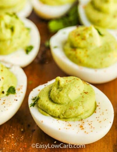 close up of Avocado Deviled Eggs