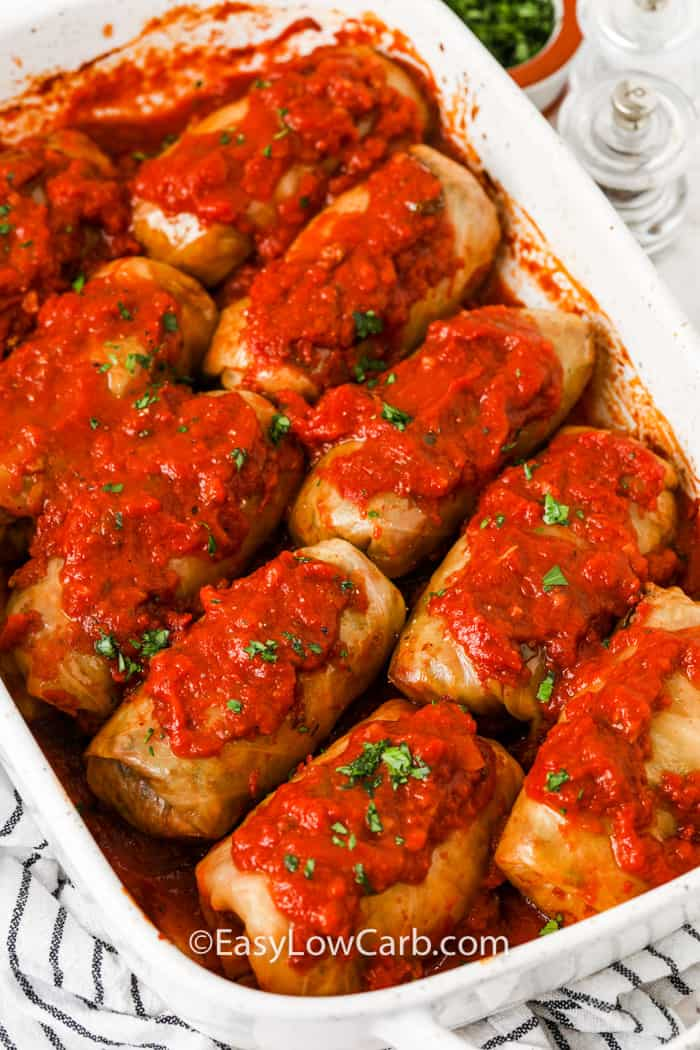 cooked Cabbage Rolls in a dish