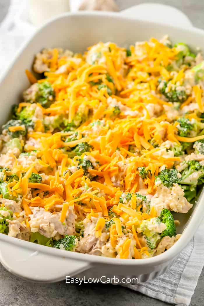 Low carb chicken broccoli casserole prepped and waiting to be baked.