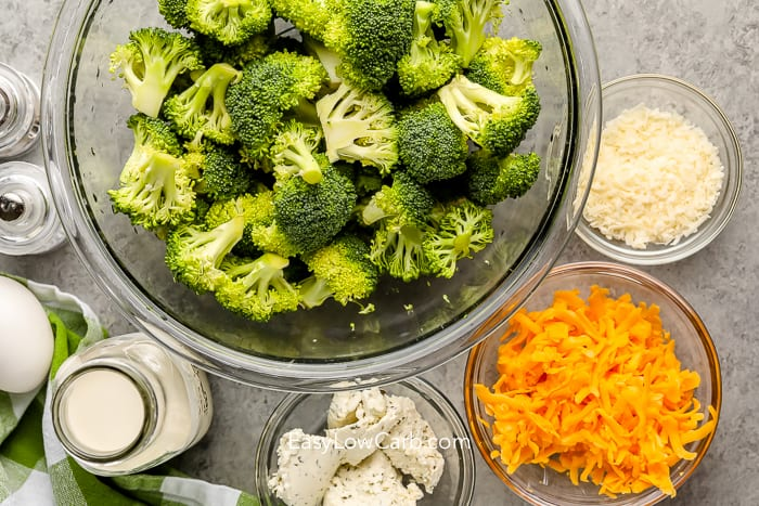 ingredients assembled to make Low Carb Broccoli Casserole