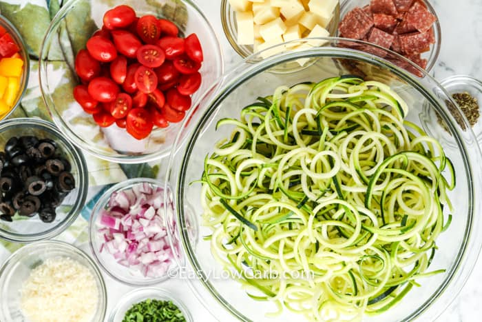 top view of ingredients to make Italian zucchini salad