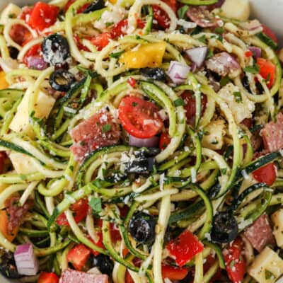 top view of raw zucchini salad