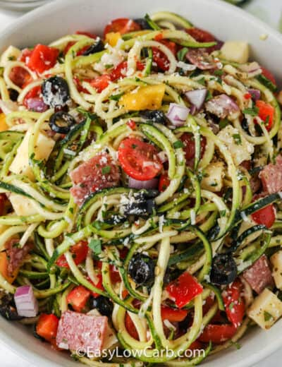 top view of raw zucchini salad