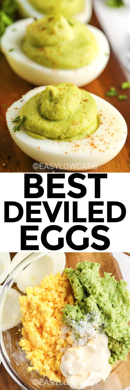 Avocado Deviled Eggs on a wooden board, and filling for eggs in a clear bowl under the title