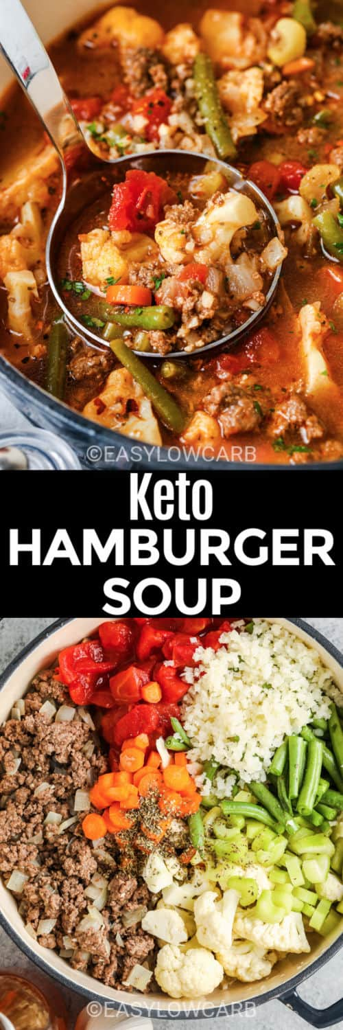 Hamburger Soup before and after cooking in the pot with a title