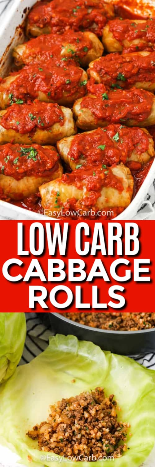 Baked Cabbage Rolls in a baking dish, and cabbage roll filling in a cabbage leaf under the title.