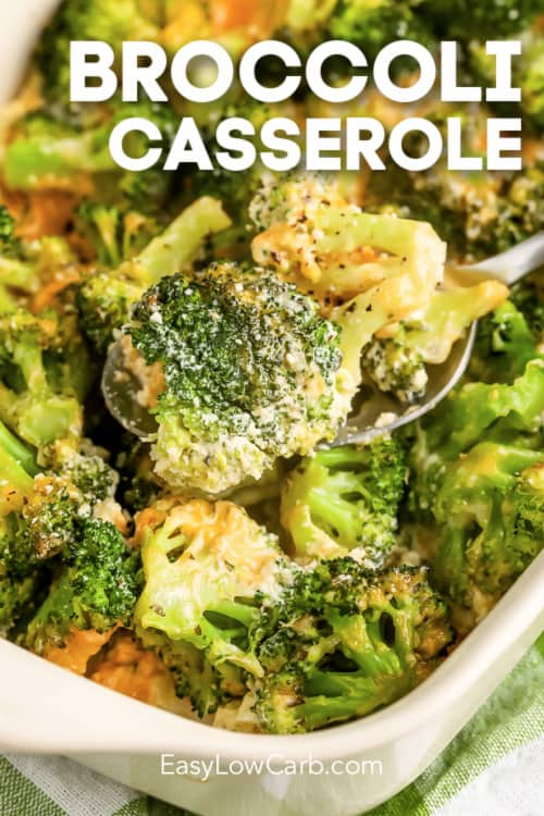 A serving of Low carb Broccoli Casserole scooped up with a silver spoon, with a title